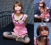 RK22 Rika Roped in Pink Camisole and Fishnet Stockings Part3