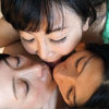 "Threesomes: lesbian kiss belt I breasts sucking-""big breasts beautiful mature woman-triangle lesbian kiss II."" more"